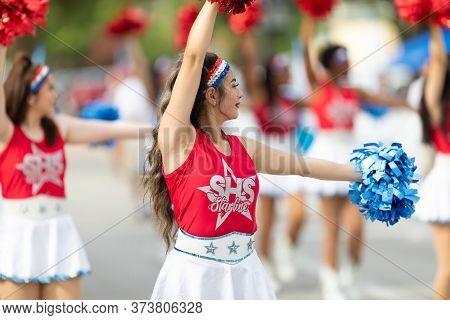 Arlington, Texas, Usa - July 4, 2019: Arlington 4th Of July Parade, Members Of Juan Seguin High Scho
