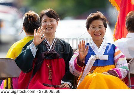 Arlington, Texas, Usa - July 4, 2019: Arlington 4th Of July Parade, Korean Women Wearing Traditional