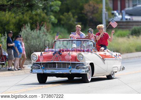 Arlington, Texas, Usa - July 4, 2019: Arlington 4th Of July Parade, A Ford, Fairlane, With American