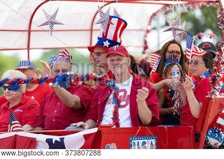 Arlington, Texas, Usa - July 4, 2019: Arlington 4th Of July Parade, Wagon, Carrying Members Of The A