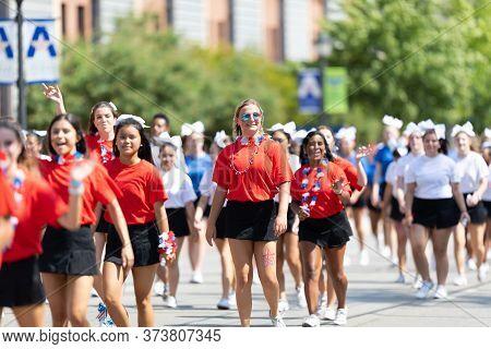 Arlington, Texas, Usa - July 4, 2019: Arlington 4th Of July Parade,  Cheerleader Team, Walking Down