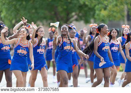 Arlington, Texas, Usa - July 4, 2019: Arlington 4th Of July Parade, Members Of James Bowie High Scho