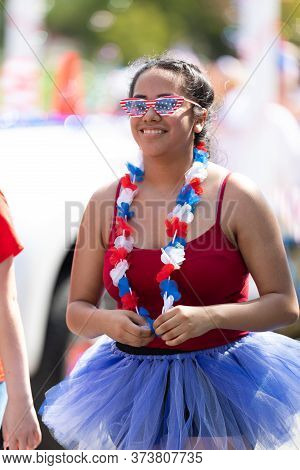 Arlington, Texas, Usa - July 4, 2019: Arlington 4th Of July Parade, Woman Wearing A Tutu, And Glasse