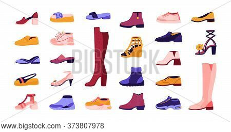 Cartoon Footwear. Elegant And Casual Shoes, Seasonal Summer Sandals And Autumn Boots, Running Sneake