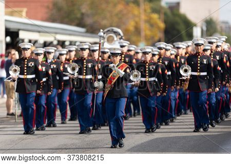 New Orleans, Louisiana, Usa - November 30, 2019: Bayou Classic Parade, Members Of The United States