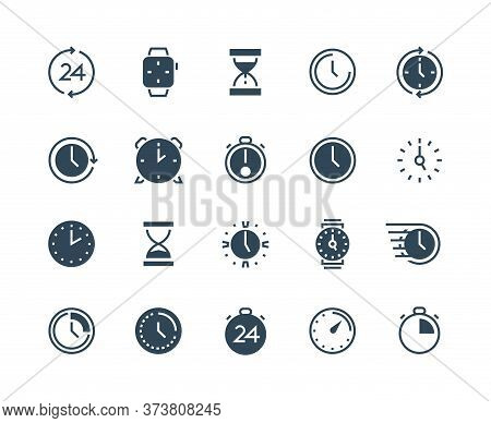 Clock Black Icons. Time And Calendar Infographic Symbols With Stopwatch Alarm Wristwatch And Hourgla