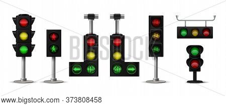 Traffic Light. Realistic City Stoplight With Green Yellow And Red Colors, Hanging And Standing 3d Is