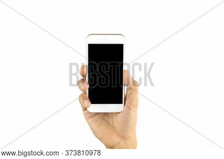 Man Hand Holding Smartphone Isolated On White Background . Mobile Phone On Human Hand. Cell Phone Wi