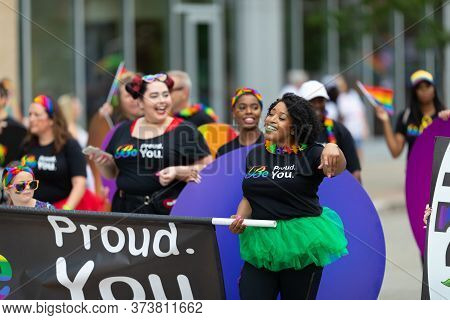 Cincinnati, Ohio, Usa - June 22, 2019: The Cincinnati Pride Parade, Group Of Women Wearing Shirts Th