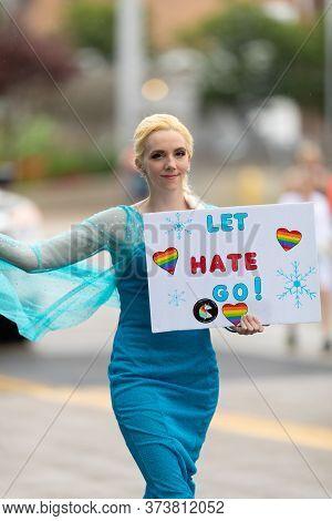 Cincinnati, Ohio, Usa - June 22, 2019: The Cincinnati Pride Parade, Person Wearing A Elsa Outfit, Ho