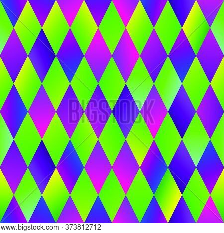 Colorful And Bright Traditional Mardi Gras Festival Seamless Pattern. Geometric Green And Violet Rep