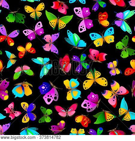 Seamless Pattern With Beautiful Bright And Colorful Butterflies. Cute Butterflies Repetitive Backgro