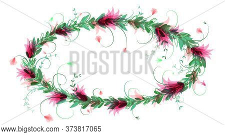 Elegant Wreath With Purple Flowers And Green Leaves. Chic Oval Frame For Design Of Congratulations,