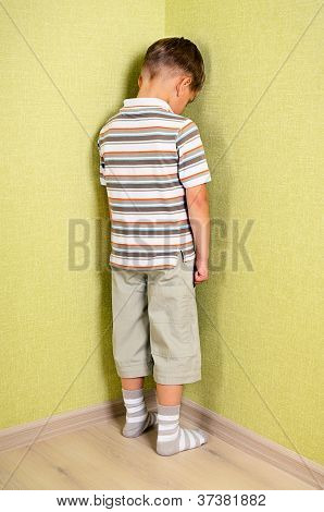 Little Child Boy Wall Corner Punishment Standing