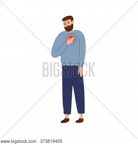 Upset Man Touching Chest With Painful Expression Vector Flat Illustration. Sad Guy Suffering From He
