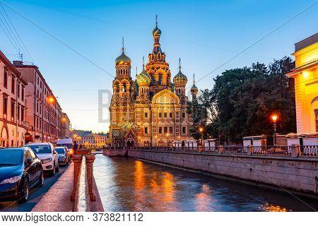 Church Of Savior On Spilled Blood (spas Na Krovi) On Griboedov Canal At Dawn, Saint Petersburg, Russ