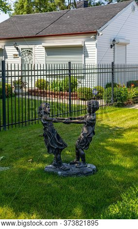 Gary, Indiana, Usa -  July 27, 2019: Statue Of Children Playing In The Former Jackson Family Home