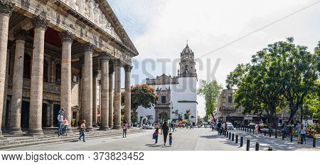Guadalajara, Jalisco, Mexico - November 23, 2019:  Tourists And Locals Enjoying The Day At Plaza De
