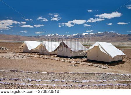 Camping Tents Near Tso Moriri Lake In Changthang Plateau In Ladakh, Jammu And Kashmir, Northern Indi