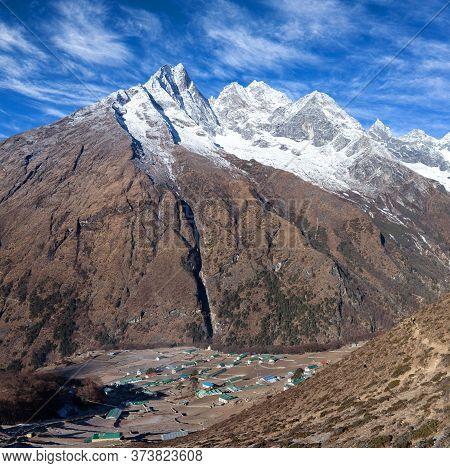 View Of Khumjung Village And Holy Mount Khumbila In Sagarmatha National Park, Nepal Himalaya