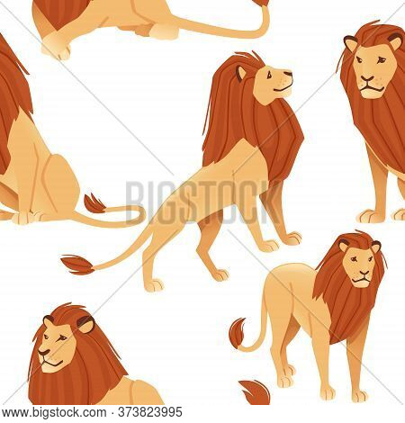 Seamless Pattern Of Male Proud Powerful Cute Lion Character Cartoon Style Animal Design Flat Vector