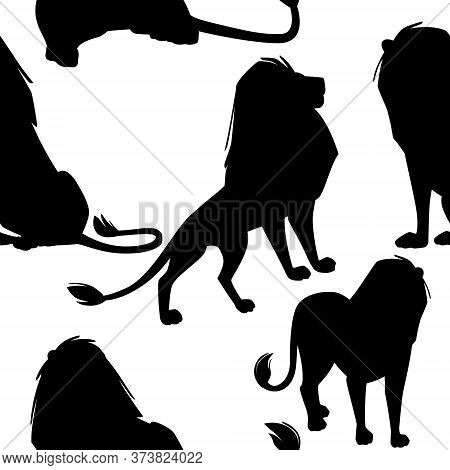 Black Silhouette Seamless Pattern Of Male Proud Powerful Cute Lion Character Cartoon Style Animal De