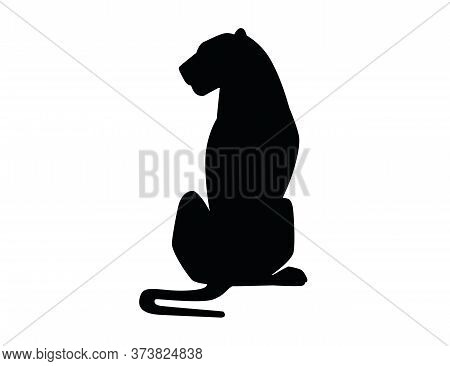 Black Silhouette Adult Lioness Sit On The Ground African Wild Predatory Cat Female Lion Cartoon Cute