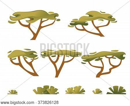 Set Of Green Savanna Flora Plants Trees Grass And Bushes Flat Vector Illustration Isolated On White