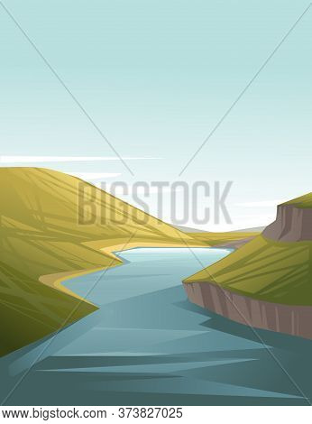 Landscape Of Countryside Big River Between The Hills With Green Grass Cartoon Design Flat Vector Ill