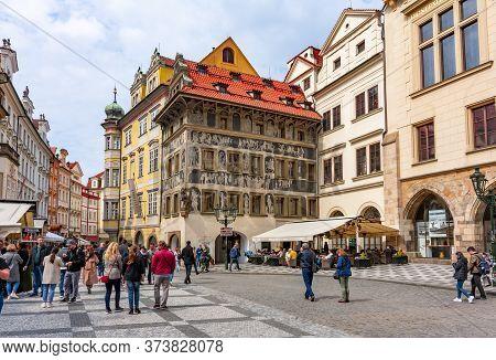 Prague, Czech Republic - May 2019: Old Town Square Architecture In Stare Mesto