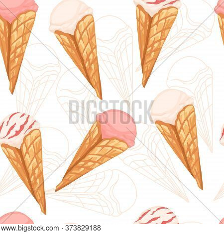 Seamless Pattern Of Ice Cream Flavors In Waffle Cones With Different Color Flat Vector Illustration