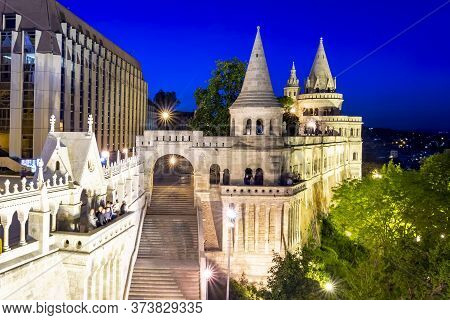 Fisherman's Bastion At Night In Budapest, Hungary