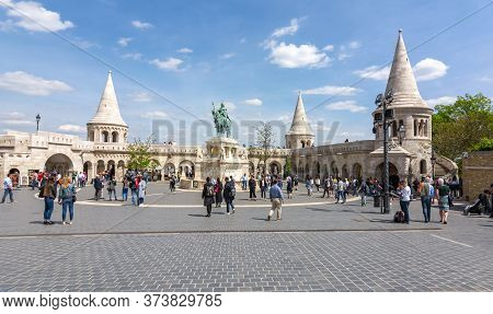 Fisherman Bastion In Budapest, Hungary - April 2019