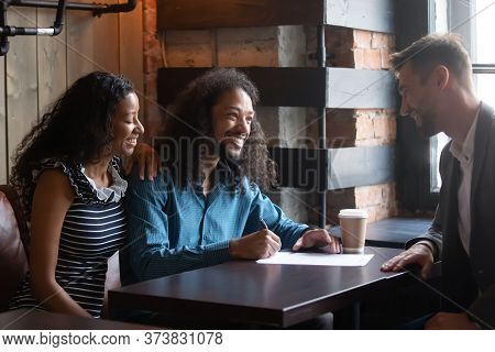 African Couple Sign Contract Buy Services Insurance After Negotiations