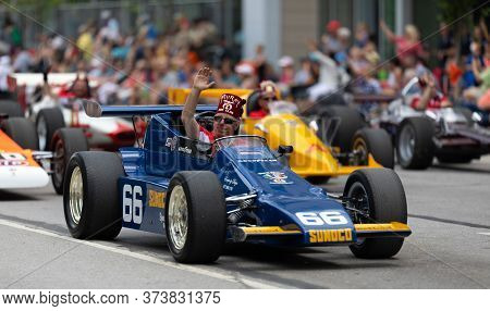 Indianapolis, Indiana, Usa - May 25, 2019: Indy 500 Parade, Replicas Of Classic Race Cars, Being Dri