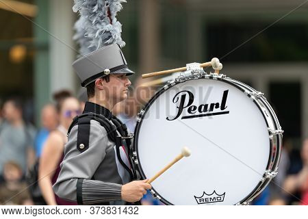 Indianapolis, Indiana, Usa - May 25, 2019: Indy 500 Parade, Members Of The Indiana, All - Star March
