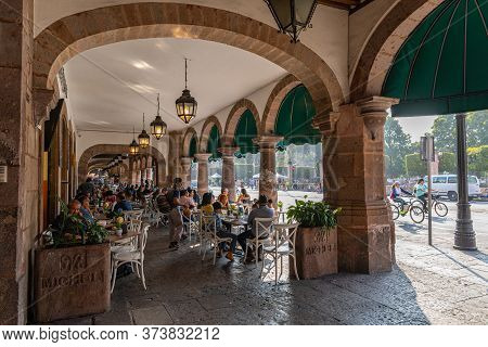 Morelia, Michoacan, Mexico - November 24, 2019: People Eating Lunch At The Restaurants Along Mexico