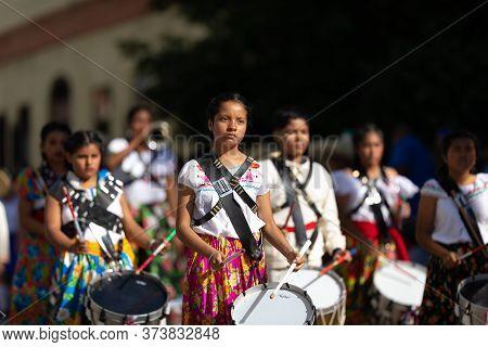 Matamoros, Tamaulipas, Mexico - November 20, 2019: The Mexican Revolution Day Parade, Music Marching