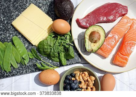 Low Carb Ketogenic Keto Gluten Free Paleo Style Diet Protein Based Meat Fish Dairy Cheese Eggs Veg B