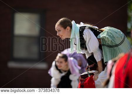 Whiting, Indiana, Usa - July 27, 2019: Pierogi Fest, Lady Being Hold In The Air While Performing A S