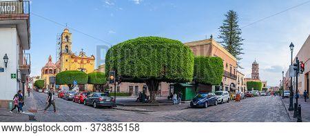 Santiago De Queretaro, Queretaro, Mexico - November 24, 2019: View Down The Corregidora Street At Th