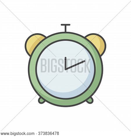 Alarm Clock Rgb Color Icon. Retro Mechanical Watch. Countdown To Deadline. Office Clock. Analog Time