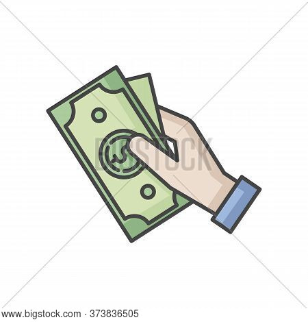 Hand Hold Money Rgb Color Icon. Cash For Client. Business Revenue. Employee Salary. Bank Benefit. Ch
