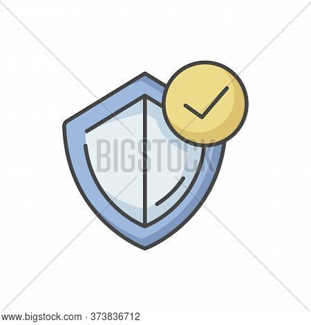 General Insurance Rgb Color Icon. Protection Shield With Checkmark. Assurance For Security. Quality
