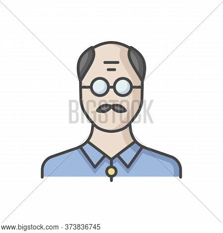 Senior Man Rgb Color Icon. Male Elder. Old Person. Grandfather With Mustache. Middle Age Human Avata