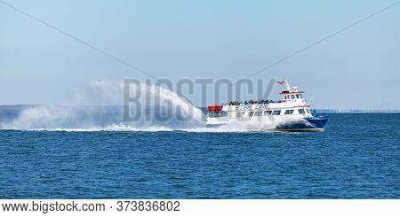 St. Ignace, Michigan, Usa - October 26, 2019: Ferry Transporting Visitors Towards Mackinac Island