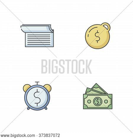 Money Debt Rgb Color Icons Set. Write In Checkbook. Heavy Financial Burden. Pay Taxes. Countdown To