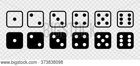 Dice Set Vector Icon. Game Dice. Dice With Six Faces Of Cube Isolated On Transparent Background.