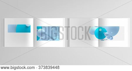 3d Realistic Vector Layout Of Cover Mockup Design Templates For Bifold Square Brochure, Flyer, Cover