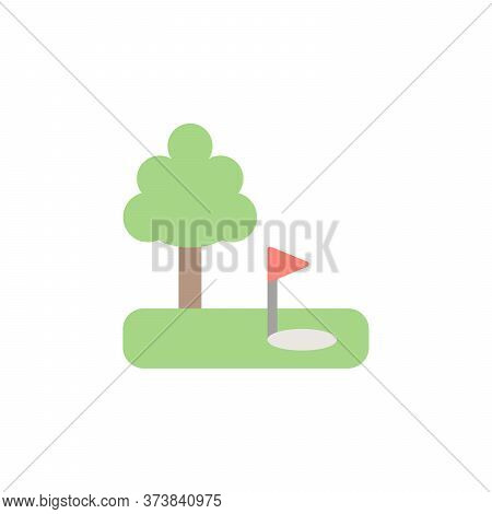 Golf Field, Tree Colored Icon. Simple Colored Element Illustration. Golf Field, Tree Concept Symbol